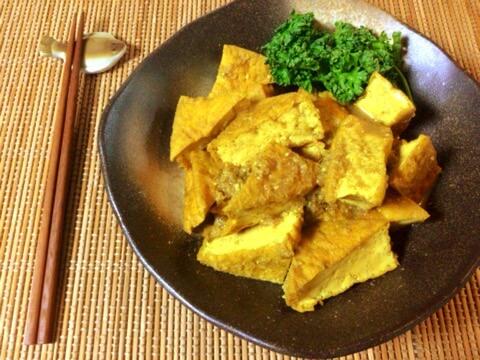 幸福な旨さ。激沁み厚揚げの絶品生姜蜂蜜カレー煮物(糖質8.9g)