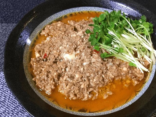 幸福溢れる。レンジ一撃カレー豆板醤のスープミートローフ(糖質3.2g)