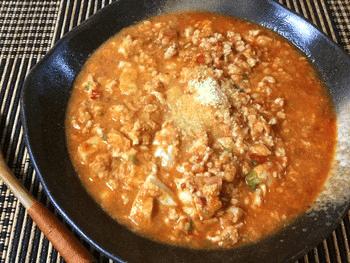 トマト豆腐の濃厚担々麺風卵チキンスープ