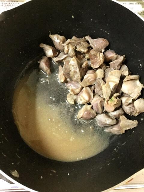 叩き胡瓜辣油の柔らか砂肝香味炒め