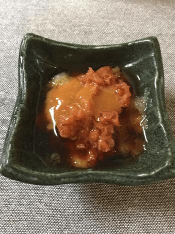 梅味噌おろしの鉄板サバ水煮オニオンサラダ