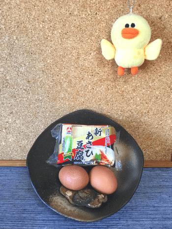 椎茸白だしオイスターの高野豆腐卵とじ