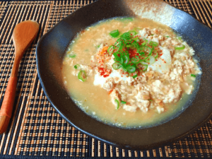 栄養てんこ盛り。風邪に一撃ほんだし生姜チキン味噌納豆汁(糖質7.2g)