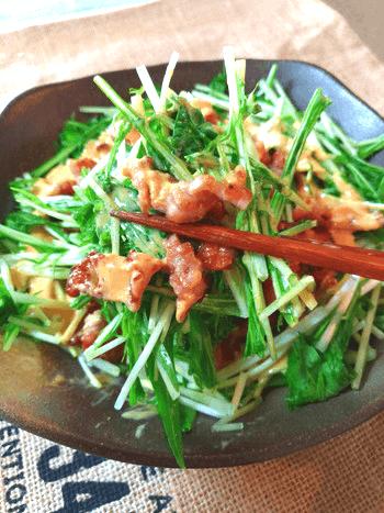 カリカリ豚こまオーロラカレークミン水菜サラダ