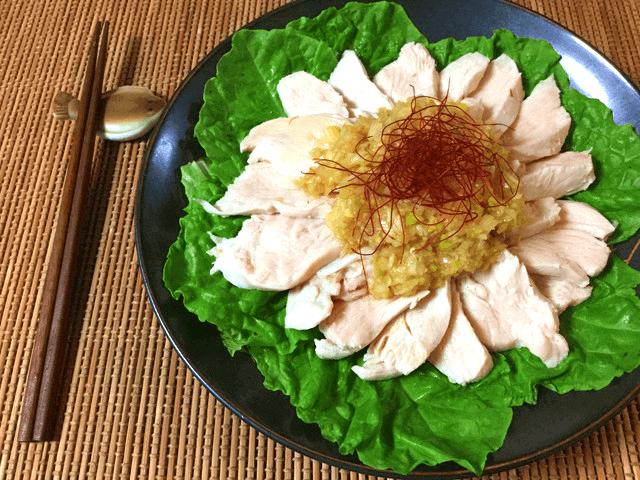 夢中なる香り。甘辛葱塩ナンプラーのピリ辛しっとり茹で鶏(糖質3.4g)