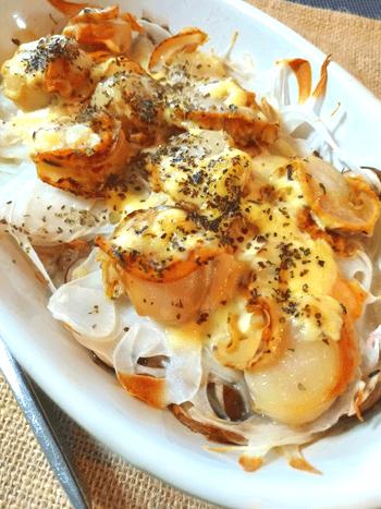 帆立オニオンの激楽マヨ豆乳バジル焼き