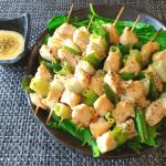 トロネギ最高。味噌塩麴の柔らか辛子マヨ鶏むねネギマ(糖質9.7g)