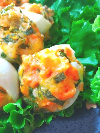 梅鮭大葉チーズのオーブンおつまみ茹で玉焼き