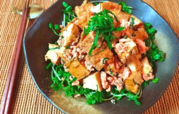 主食の満足感。鮭マヨ大葉の山盛り香味だし厚揚げ(糖質4.5g)