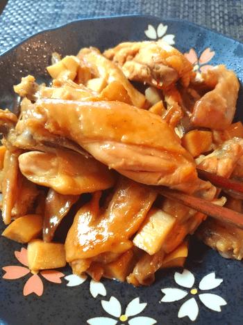 無水茸チキンウィングの黒酢どサッパリ煮