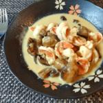 茸の贈り物。美味しいバタージンジャー海老マッシュチーズ煮(糖質3.1g)