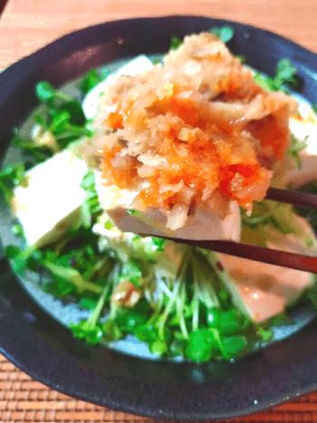 おろし搾菜ポン酢の激盛り水切り豆腐サラダ
