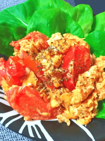 簡単お店味。とろふわ3分のトマたま生姜味噌オイスター炒め(糖質5.3g)