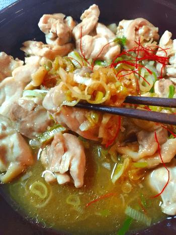最短工程の美味しい無水オイポン鶏葱鍋