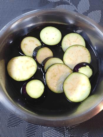 和辛子ホタテ粉チーズの極上茄子焼きおつまみ