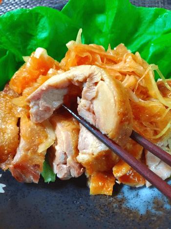 脂質大幅カット。もみじ柚子ポン酢の叩き風玉葱チキン(糖質4.7g)