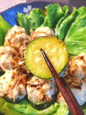 トロリ底力。鶏ズッキーニのふわり胡麻ぽんオイスター蒸し(糖質7.9g)