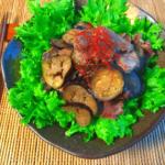 いざ美味食感。茄子も沁み込む絶品豚タン蜂蜜生姜焼き(糖質9.4g)