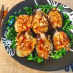 ガブリと巨大。韓国風ネギタレのレンチン滑らか茄子焼売(糖質8.0g)