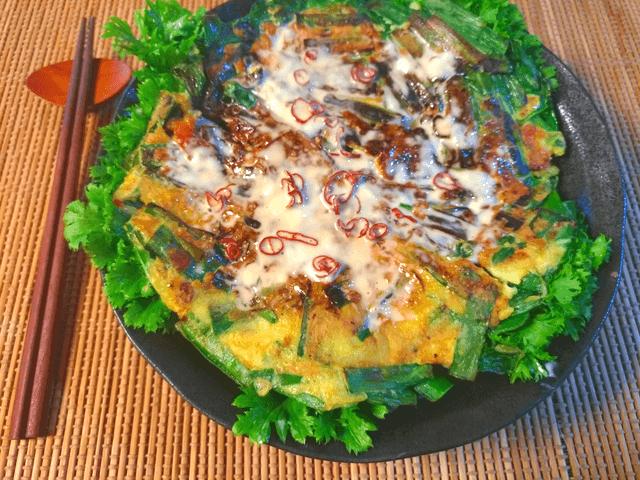 食べ尽くし60秒。白だしマヨのピリ辛ごっそりニラ豚玉(糖質4.7g)