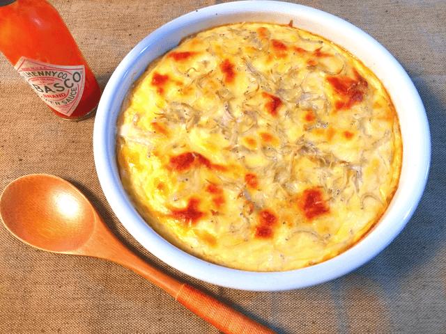 Wチーズの誘惑。カリカリチーズの和風しらすキッシュ(糖質4.1g)