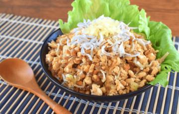 がっつり満足感!沢庵シラスバター醤油の和風ネギ炒飯風(糖質4.5g)