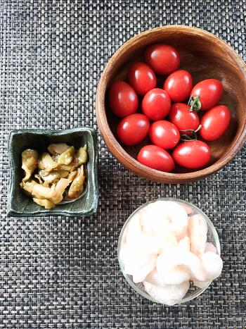 超おつまみ系。タバスコザーサイの旨プチトマトシュリンプ(糖質3.5g)