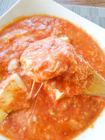 包丁お留守番。音速コンソメだしカレーのトマトチーズ豆腐(糖質5.8g)