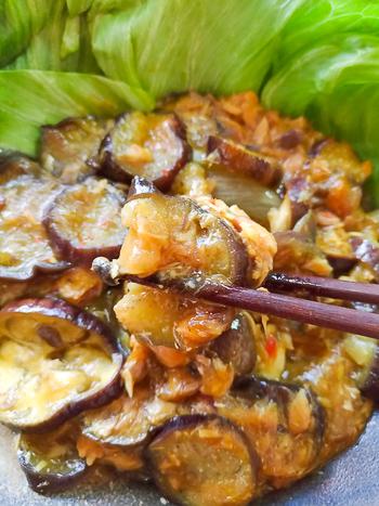 レンチン感謝。山盛り即楽の美味レンジ鯖缶カレー茄子麻婆(糖質8.6g)