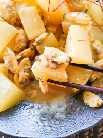 旨味突撃隊。沁み沁み大根のあさりガーリックバター醤油(糖質8.0g)