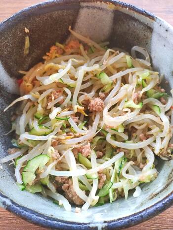 レンチン満腹。極細胡瓜もやしの驚き蜂蜜ジャージャーサラダ(糖質8.3g)