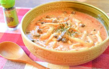 マッハで美味しい。豆乳バタートマトの濃厚5分キノコシチュー(糖質9.3g)