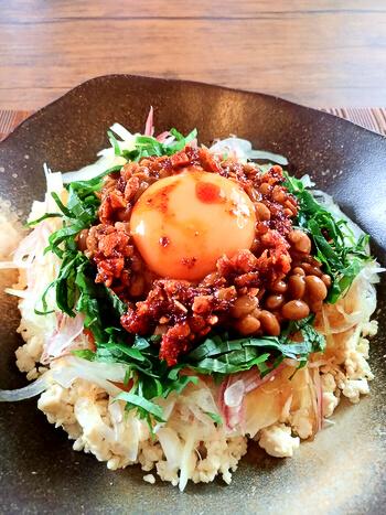 タモさん有難う。笑顔溢れる納豆ソイライスの極上幸せ丼(糖質8.9g)
