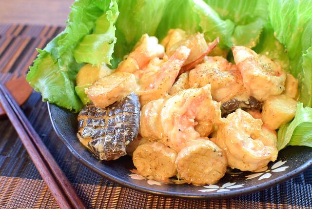 エリンギ素敵。本当に美味しい山椒エビホタテ風マヨ(糖質5.0g)
