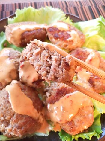 大変に美味。マヨ醤油豆板醤の一口納豆エノキバーグ(糖質7.5g)
