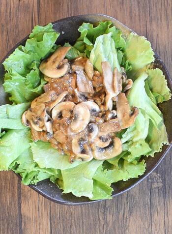 必殺の相性。焼き胡麻マッシュルームの納豆明太子サラダ(糖質2.6g)