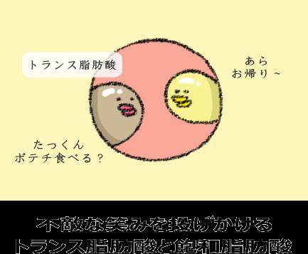 不敵な笑みを投げかける トランス脂肪酸と飽和脂肪酸