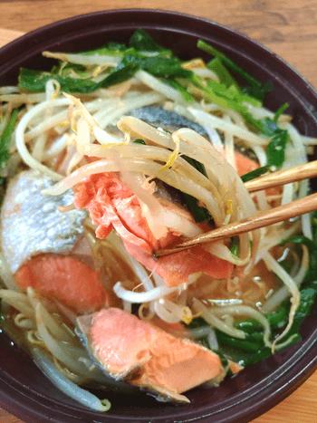 レンジに感謝!ガーリック味噌バター鮭ちゃんちゃん(糖質7.5g)