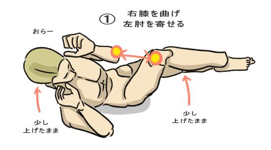 ②体を僅かにひねりながら、逆側の肘と膝を交互に寄せる