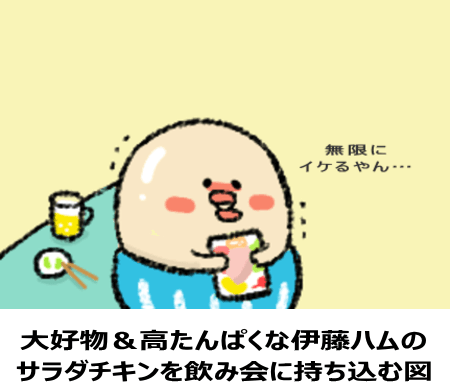 大好物&高たんぱくな伊藤ハムの サラダチキンを飲み会に持ち込む図
