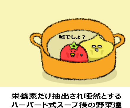 栄養素だけを抽出され唖然とするハーバード式スープ完成後の野菜達