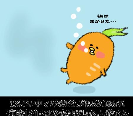 お湯の中で栄養分が熱分解され抗酸化作用の喪失を憂う人参さん