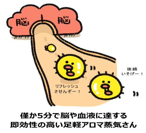 僅か5分で脳や血液に達する 即効性の高い足軽アロマ蒸気さん