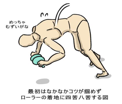 最初はなかなかコツが掴めず ローラーの着地に四苦八苦する図