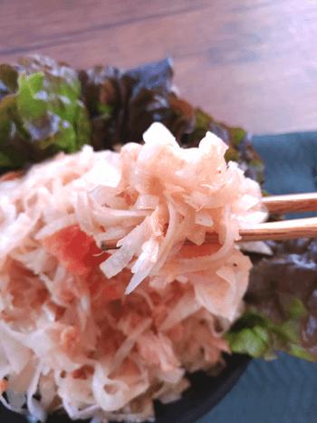 ホロ苦進む!明太レモン醤油のさっぱり無限ツナ大根(糖質6.2g)