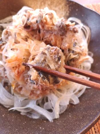 血液激サラサラ!梅味噌おろしの鉄板サバ水煮オニオンサラダ(糖質8.4g)