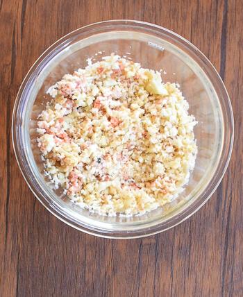 期待の旨さ!衝撃の鮭バター醤油カリフラワーライス(糖質1.9g)