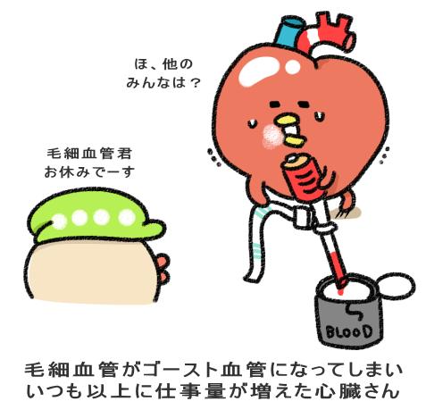 毛細血管がゴースト血管になってしまい いつも以上に仕事量が増えた心臓さん