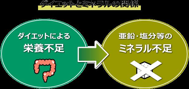 食事不足→亜鉛・塩分等のミネラル不足