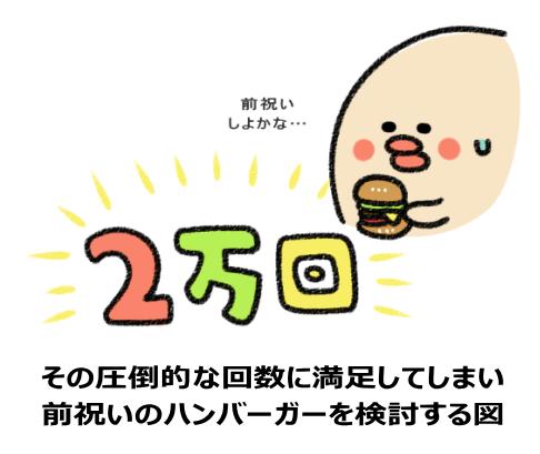その圧倒的な回数に満足してしまい 前祝いのハンバーガーを検討する図